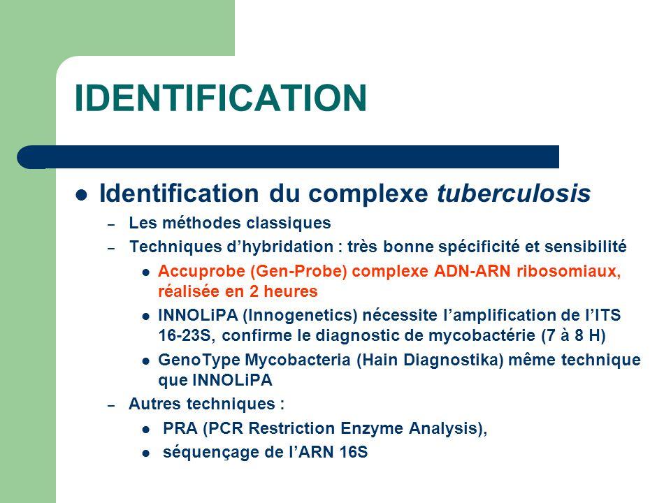 IDENTIFICATION Identification du complexe tuberculosis – Les méthodes classiques – Techniques d'hybridation : très bonne spécificité et sensibilité Ac
