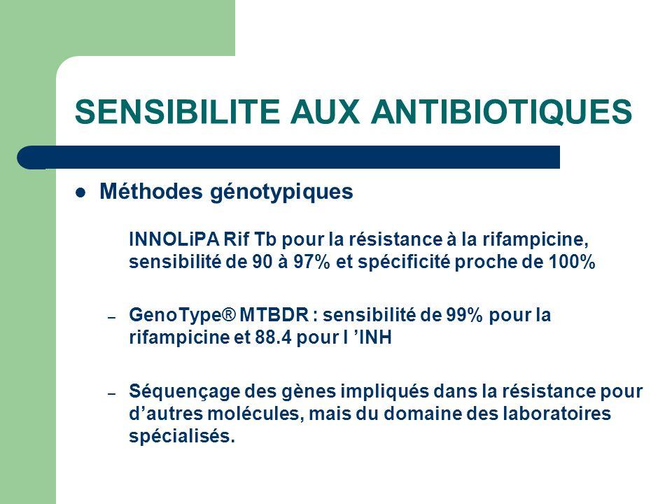 SENSIBILITE AUX ANTIBIOTIQUES Méthodes génotypiques INNOLiPA Rif Tb pour la résistance à la rifampicine, sensibilité de 90 à 97% et spécificité proche