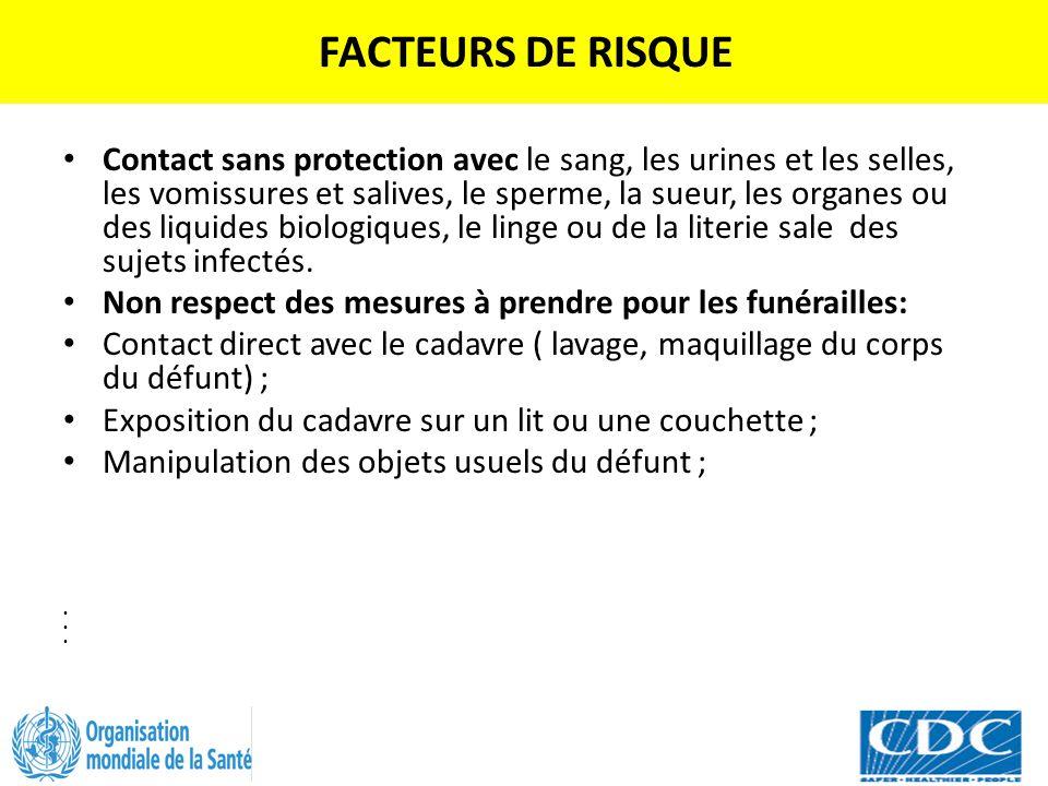 FACTEURS DE RISQUE Contact sans protection avec le sang, les urines et les selles, les vomissures et salives, le sperme, la sueur, les organes ou des