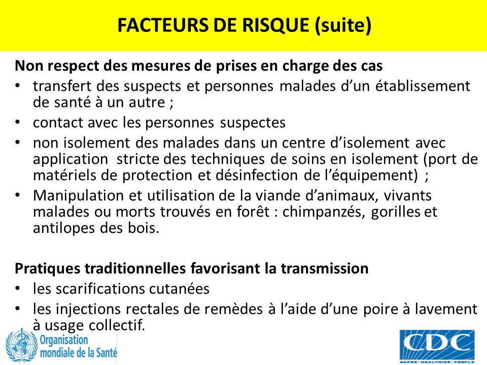 FACTEURS DE RISQUE (suite) Non respect des mesures de prises en charge des cas transfert des suspects et personnes malades d'un établissement de santé