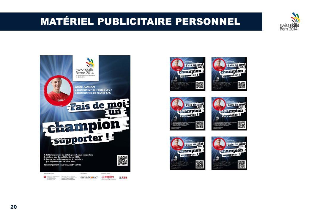 20 MATÉRIEL PUBLICITAIRE PERSONNEL