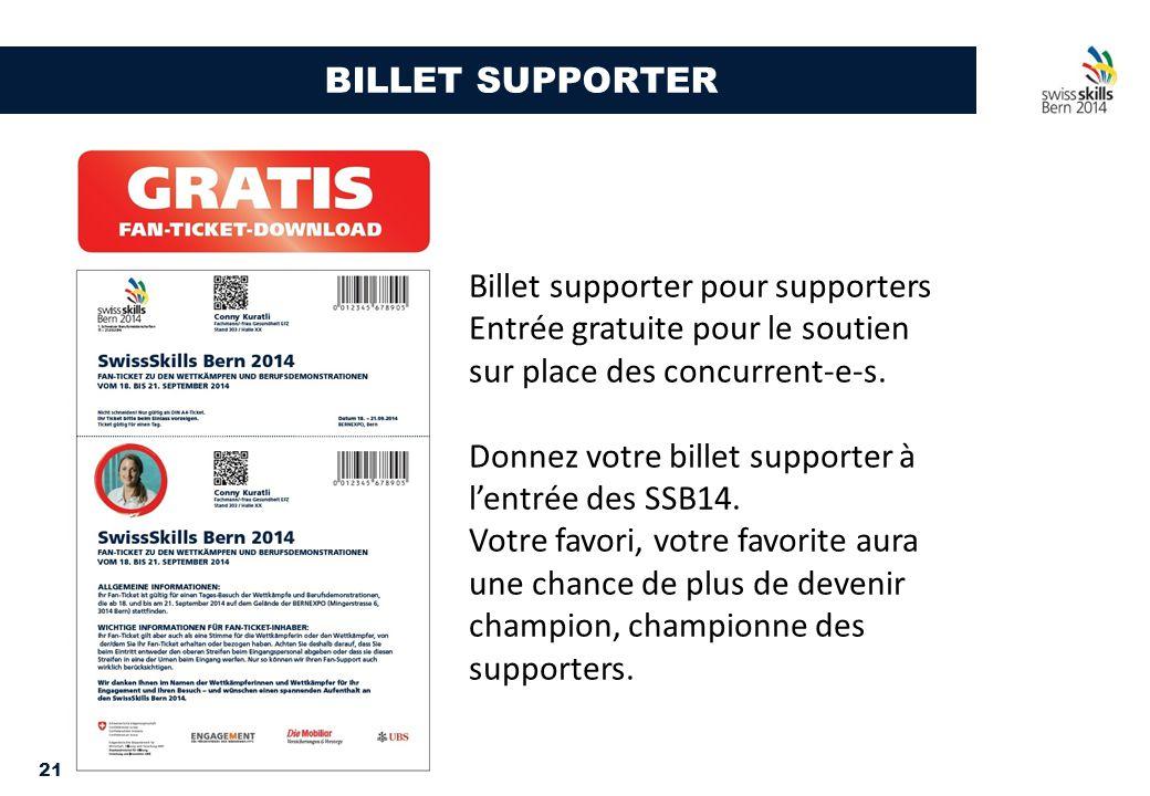 21 BILLET SUPPORTER Billet supporter pour supporters Entrée gratuite pour le soutien sur place des concurrent-e-s. Donnez votre billet supporter à l'e