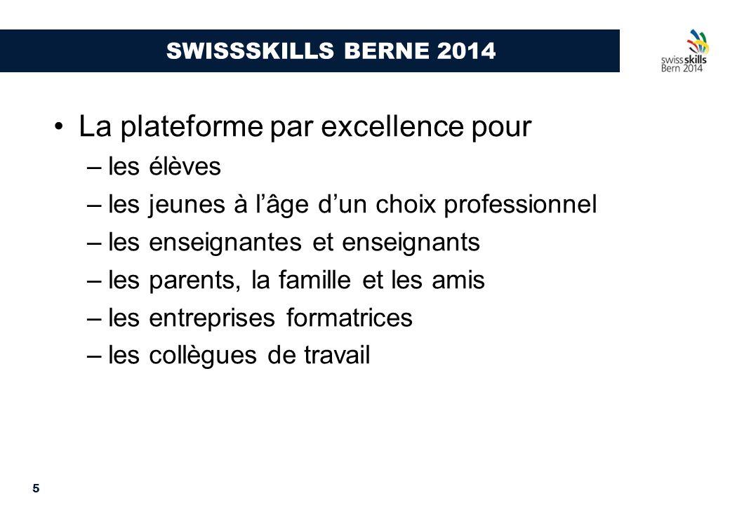 5 SWISSSKILLS BERNE 2014 La plateforme par excellence pour –les élèves –les jeunes à l'âge d'un choix professionnel –les enseignantes et enseignants –