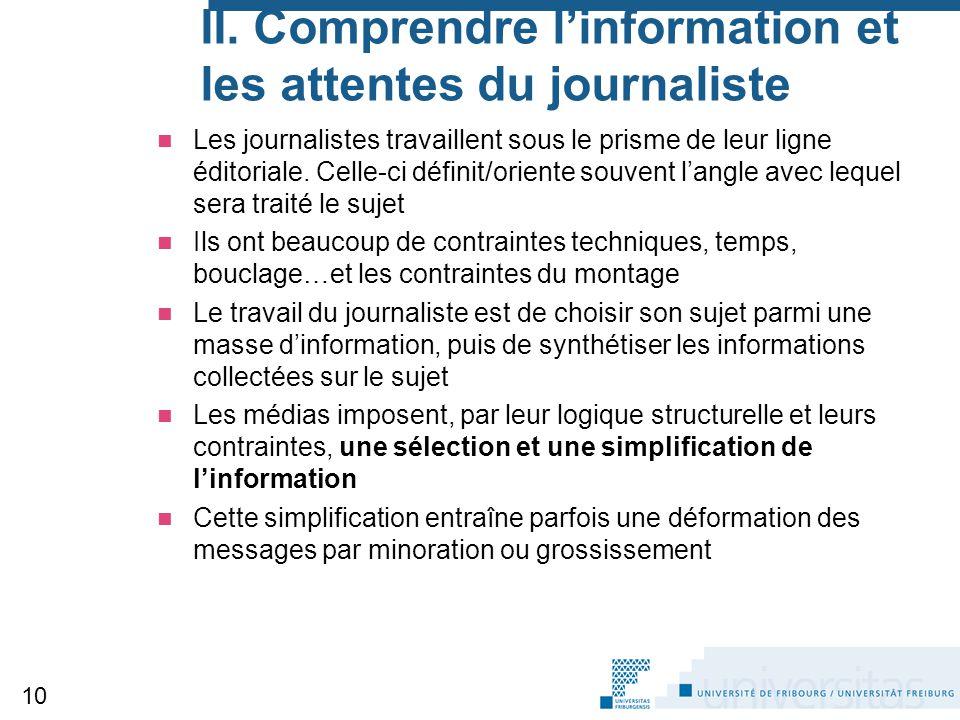II. Comprendre l'information et les attentes du journaliste Les journalistes travaillent sous le prisme de leur ligne éditoriale. Celle-ci définit/ori
