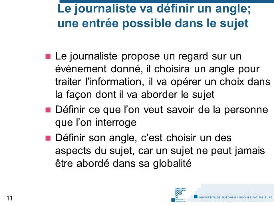 Le journaliste va définir un angle; une entrée possible dans le sujet Le journaliste propose un regard sur un événement donné, il choisira un angle po