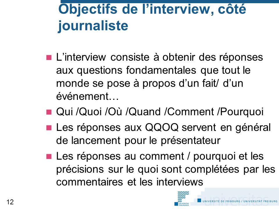Objectifs de l'interview, côté journaliste L'interview consiste à obtenir des réponses aux questions fondamentales que tout le monde se pose à propos
