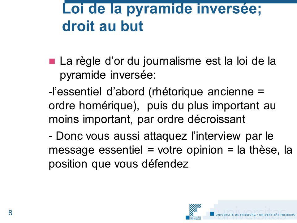 Loi de la pyramide inversée; droit au but La règle d'or du journalisme est la loi de la pyramide inversée: -l'essentiel d'abord (rhétorique ancienne =