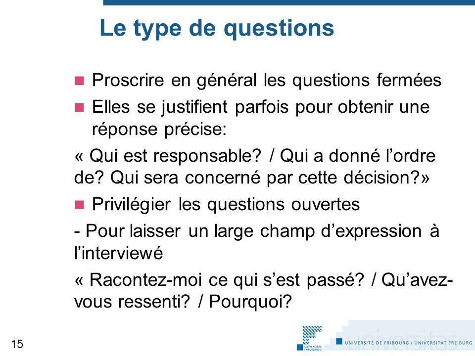 Le type de questions Proscrire en général les questions fermées Elles se justifient parfois pour obtenir une réponse précise: « Qui est responsable? /