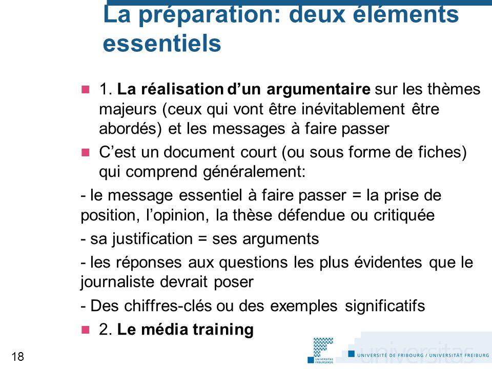 La préparation: deux éléments essentiels 1. La réalisation d'un argumentaire sur les thèmes majeurs (ceux qui vont être inévitablement être abordés) e