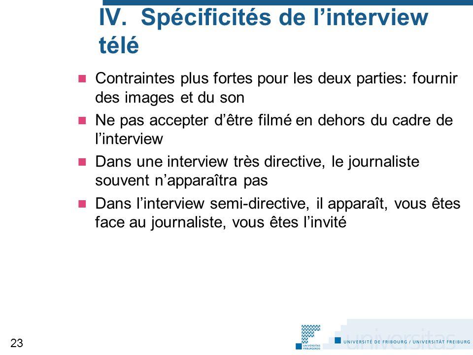 IV. Spécificités de l'interview télé Contraintes plus fortes pour les deux parties: fournir des images et du son Ne pas accepter d'être filmé en dehor