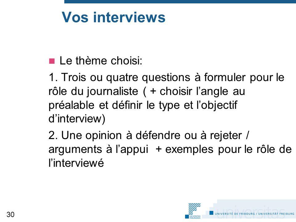 Vos interviews Le thème choisi: 1. Trois ou quatre questions à formuler pour le rôle du journaliste ( + choisir l'angle au préalable et définir le typ