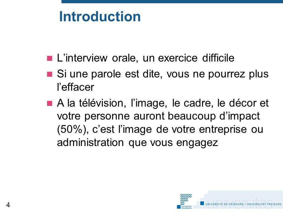 Introduction L'interview orale, un exercice difficile Si une parole est dite, vous ne pourrez plus l'effacer A la télévision, l'image, le cadre, le dé