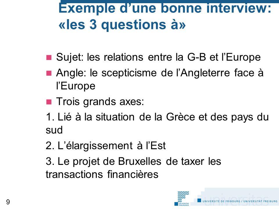 Exemple d'une bonne interview: «les 3 questions à» Sujet: les relations entre la G-B et l'Europe Angle: le scepticisme de l'Angleterre face à l'Europe