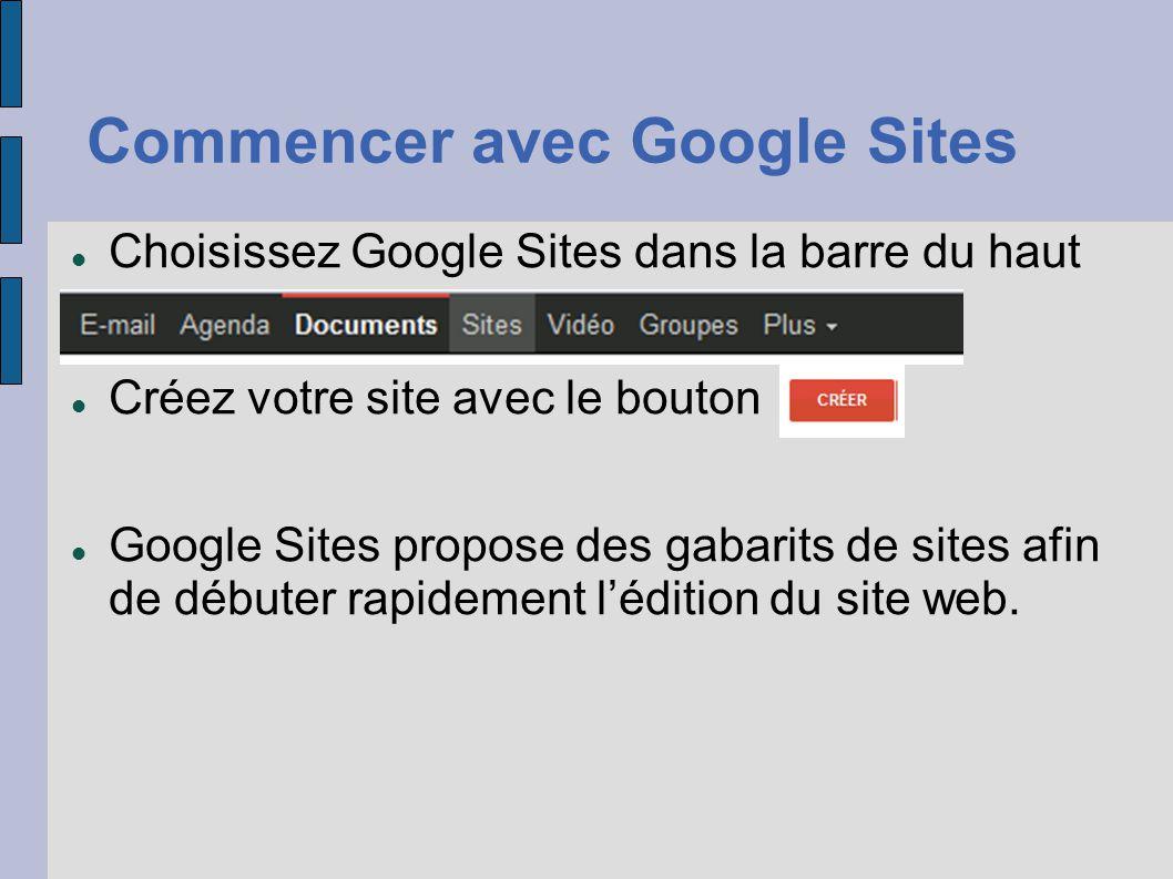 Commencer avec Google Sites Choisissez Google Sites dans la barre du haut Créez votre site avec le bouton Google Sites propose des gabarits de sites a
