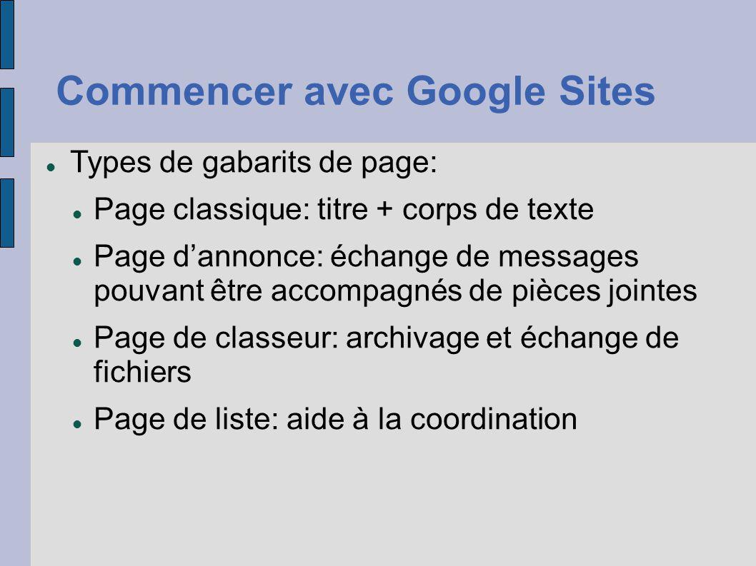 Commencer avec Google Sites Types de gabarits de page: Page classique: titre + corps de texte Page d'annonce: échange de messages pouvant être accompa