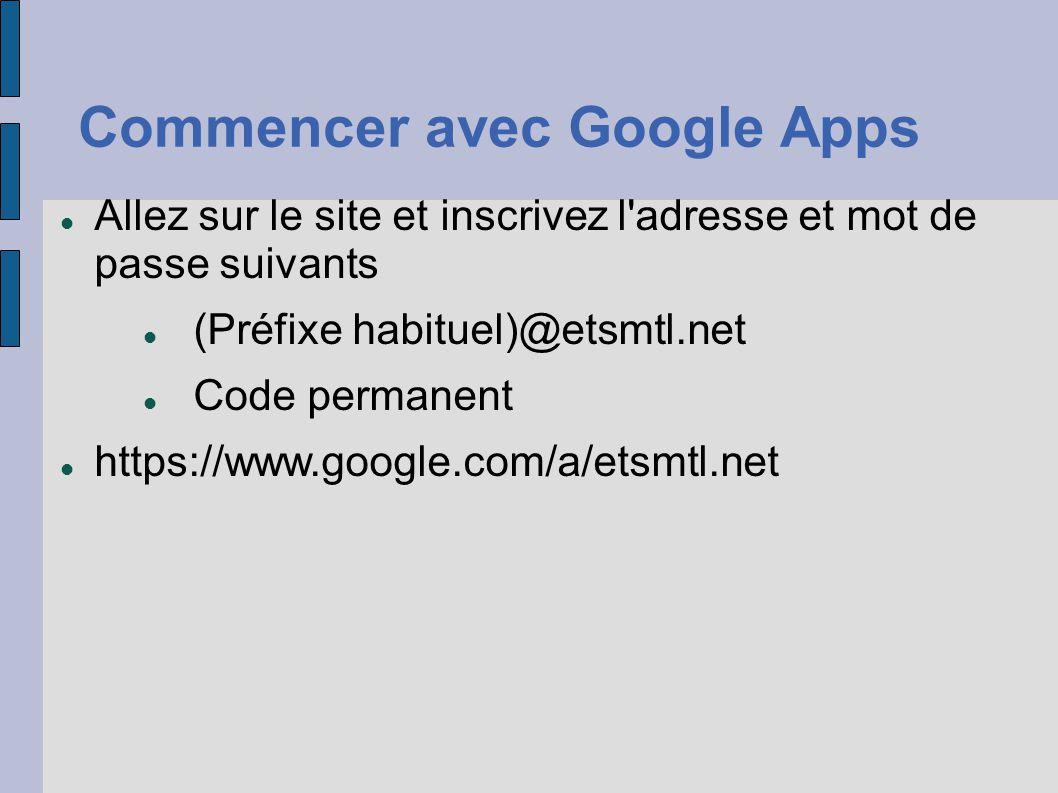 Commencer avec Google Apps Allez sur le site et inscrivez l'adresse et mot de passe suivants (Préfixe habituel)@etsmtl.net Code permanent https://www.