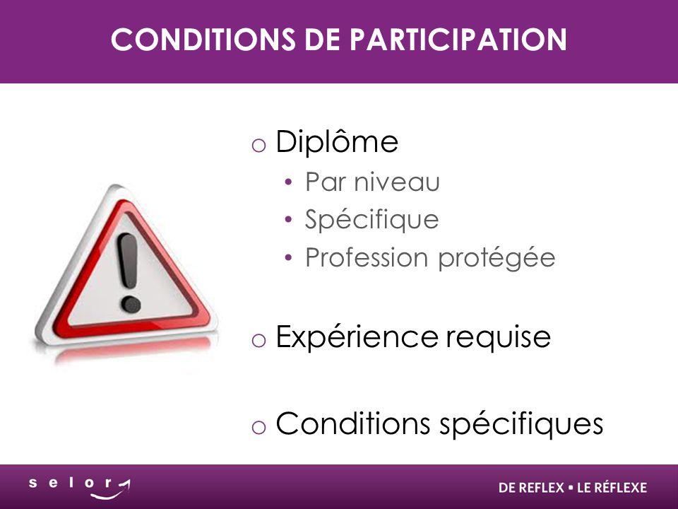 CONDITIONS DE PARTICIPATION o Diplôme Par niveau Spécifique Profession protégée o Expérience requise o Conditions spécifiques