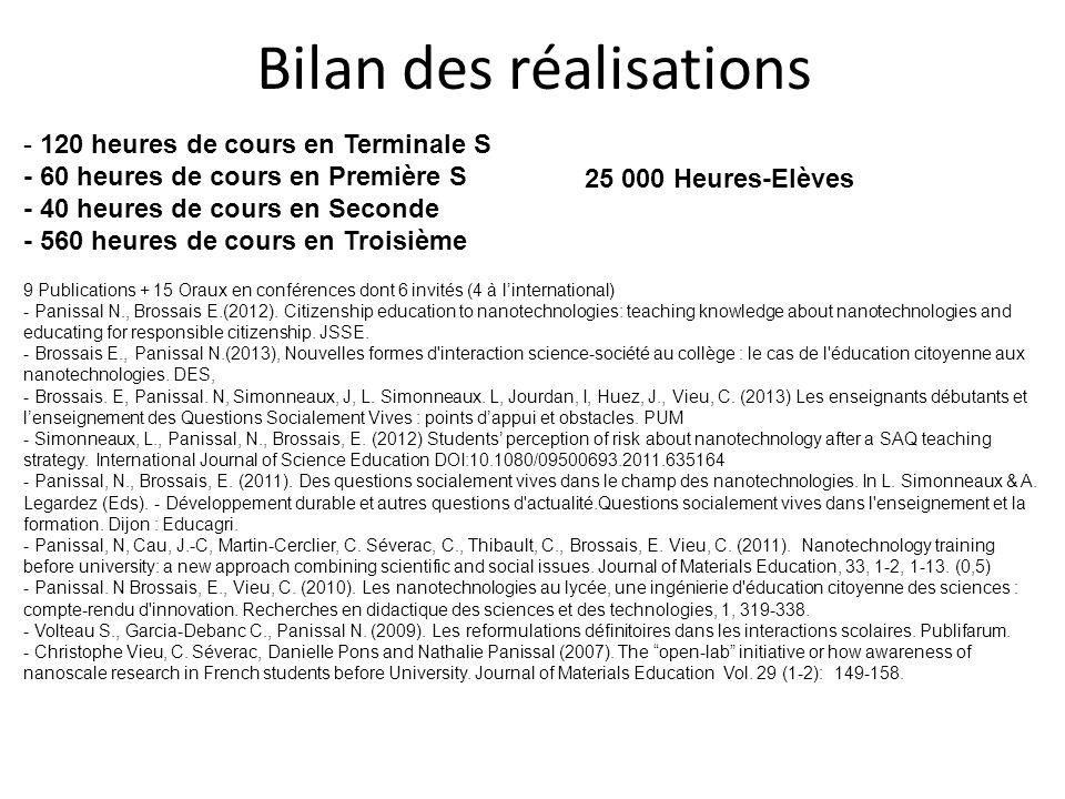 Bilan des réalisations 9 Publications + 15 Oraux en conférences dont 6 invités (4 à l'international) - Panissal N., Brossais E.(2012). Citizenship edu
