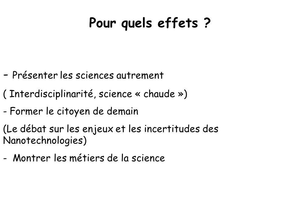 Pour quels effets ? - Présenter les sciences autrement ( Interdisciplinarité, science « chaude ») - Former le citoyen de demain (Le débat sur les enje