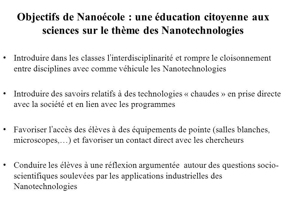 Objectifs de Nanoécole : une éducation citoyenne aux sciences sur le thème des Nanotechnologies Introduire dans les classes l'interdisciplinarité et r
