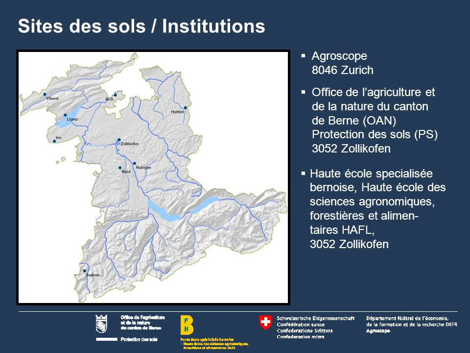 2 Name der Präsentation | Untertitel Autor Sites des sols / Institutions  Agroscope 8046 Zurich  Office de l'agriculture et de la nature du canton d