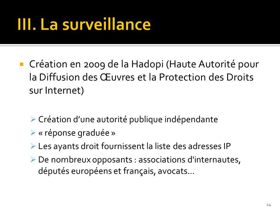  Création en 2009 de la Hadopi (Haute Autorité pour la Diffusion des Œuvres et la Protection des Droits sur Internet)  Création d'une autorité publi