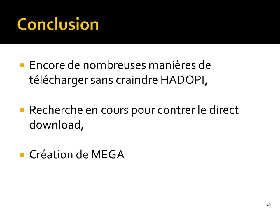  Encore de nombreuses manières de télécharger sans craindre HADOPI,  Recherche en cours pour contrer le direct download,  Création de MEGA 16