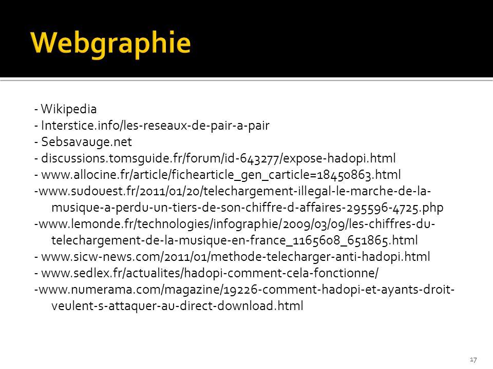 - Wikipedia - Interstice.info/les-reseaux-de-pair-a-pair - Sebsavauge.net - discussions.tomsguide.fr/forum/id-643277/expose-hadopi.html - www.allocine.fr/article/fichearticle_gen_carticle=18450863.html -www.sudouest.fr/2011/01/20/telechargement-illegal-le-marche-de-la- musique-a-perdu-un-tiers-de-son-chiffre-d-affaires-295596-4725.php -www.lemonde.fr/technologies/infographie/2009/03/09/les-chiffres-du- telechargement-de-la-musique-en-france_1165608_651865.html - www.sicw-news.com/2011/01/methode-telecharger-anti-hadopi.html - www.sedlex.fr/actualites/hadopi-comment-cela-fonctionne/ -www.numerama.com/magazine/19226-comment-hadopi-et-ayants-droit- veulent-s-attaquer-au-direct-download.html 17