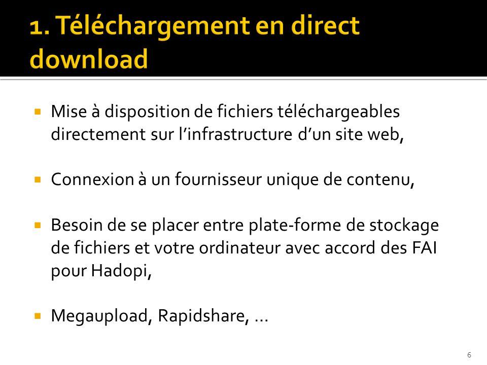  Mise à disposition de fichiers téléchargeables directement sur l'infrastructure d'un site web,  Connexion à un fournisseur unique de contenu,  Besoin de se placer entre plate-forme de stockage de fichiers et votre ordinateur avec accord des FAI pour Hadopi,  Megaupload, Rapidshare, … 6
