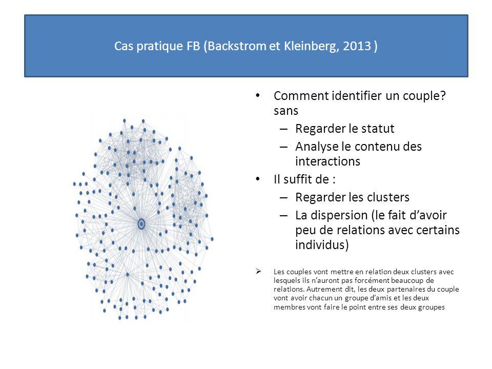 Comment identifier un couple? sans – Regarder le statut – Analyse le contenu des interactions Il suffit de : – Regarder les clusters – La dispersion (