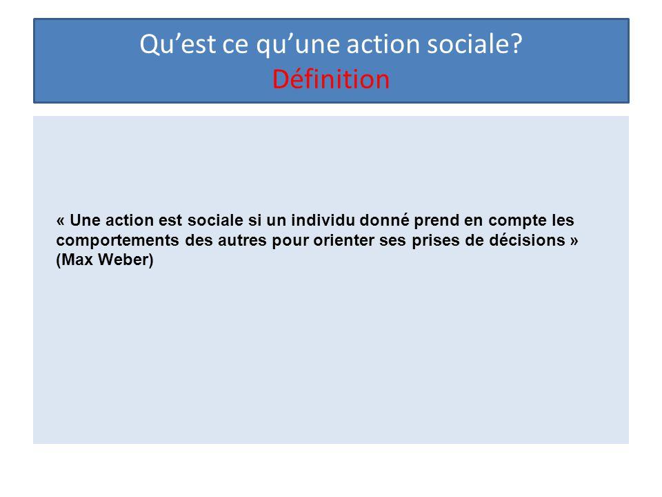Qu'est ce qu'une action sociale? Définition « Une action est sociale si un individu donné prend en compte les comportements des autres pour orienter s