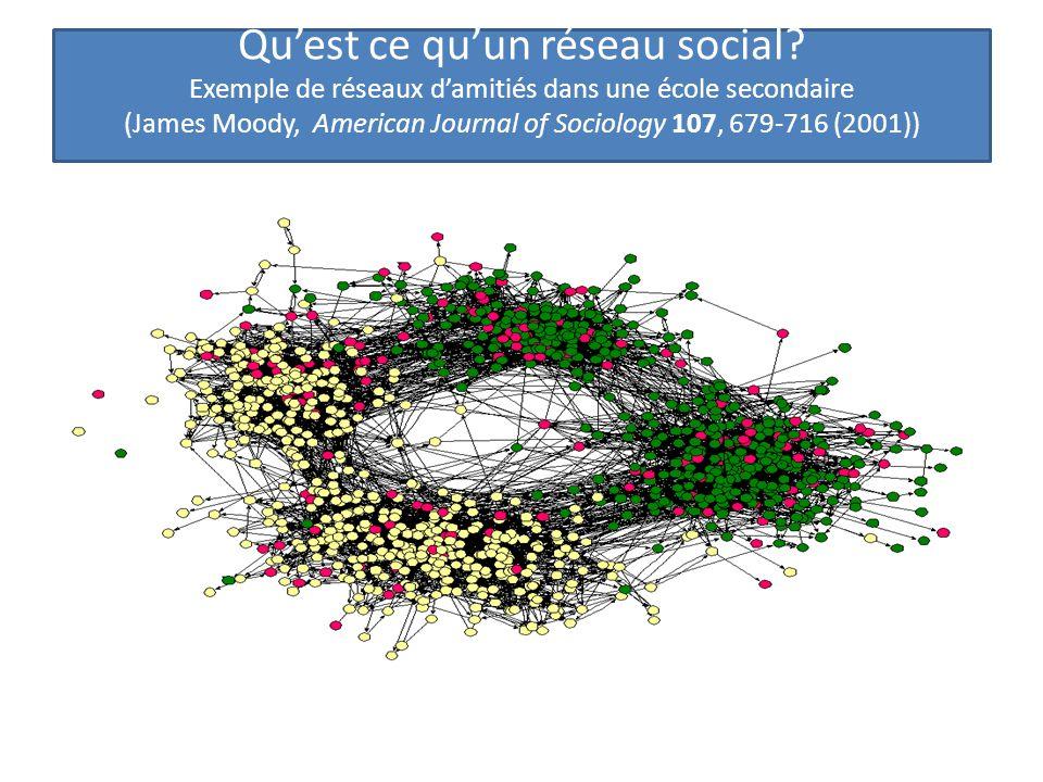 Qu'est ce qu'un réseau social? Exemple de réseaux d'amitiés dans une école secondaire (James Moody, American Journal of Sociology 107, 679-716 (2001))