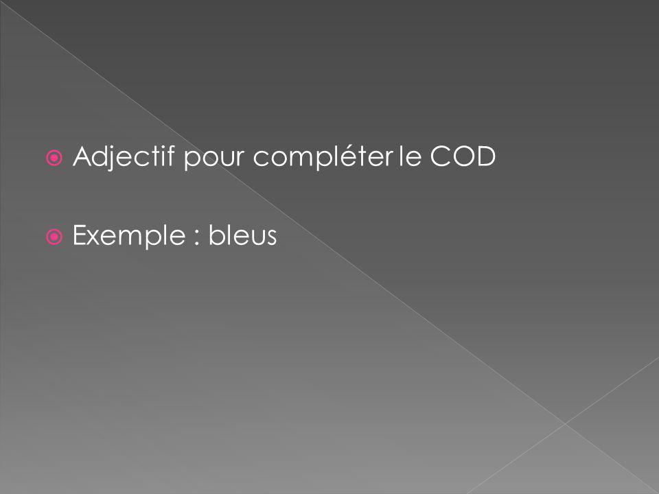  Adjectif pour compléter le COD  Exemple : bleus