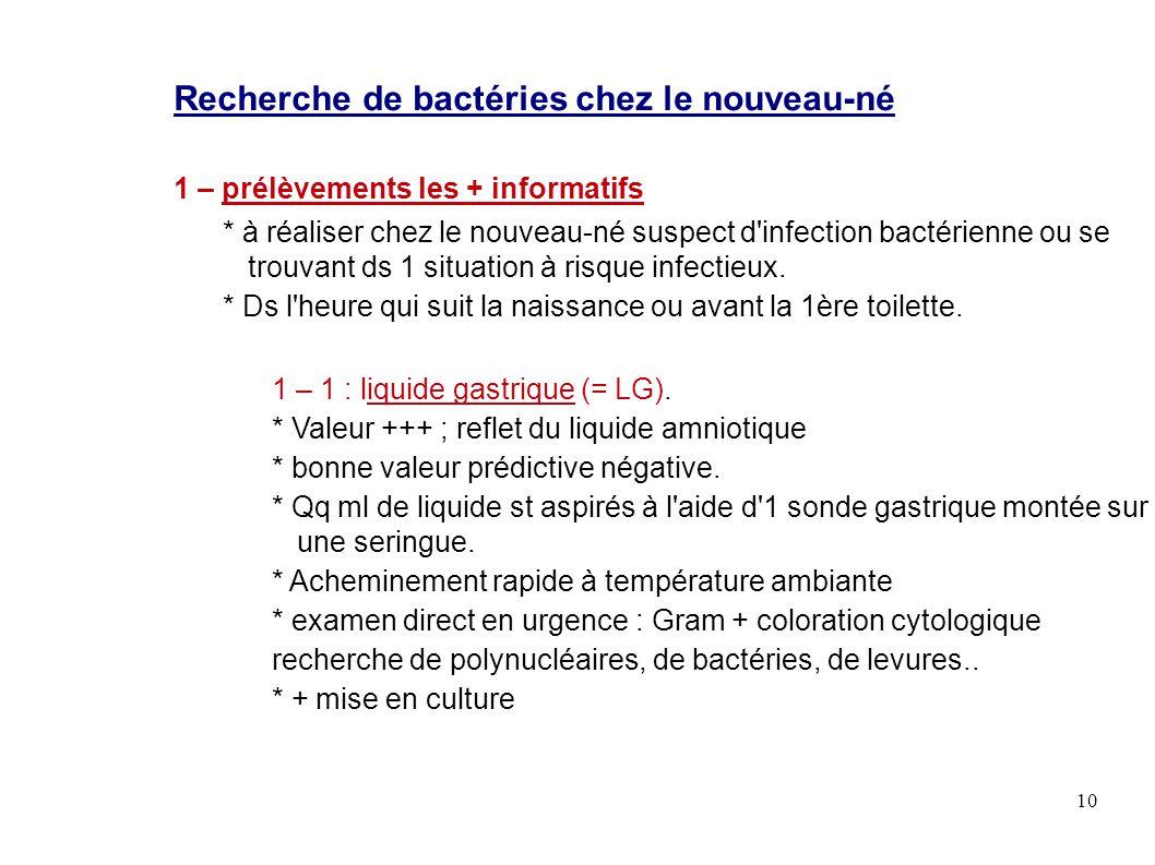 10 Recherche de bactéries chez le nouveau-né 1 – prélèvements les + informatifs * à réaliser chez le nouveau-né suspect d'infection bactérienne ou se