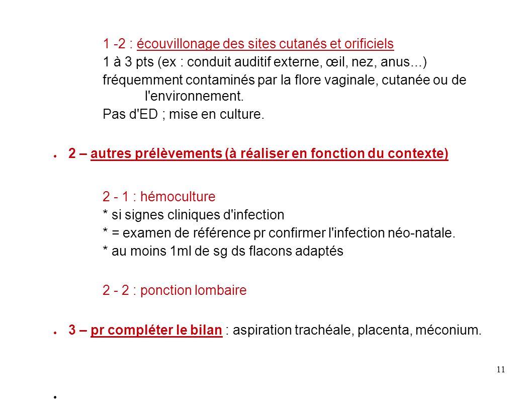 11 1 -2 : écouvillonage des sites cutanés et orificiels 1 à 3 pts (ex : conduit auditif externe, œil, nez, anus...) fréquemment contaminés par la flor