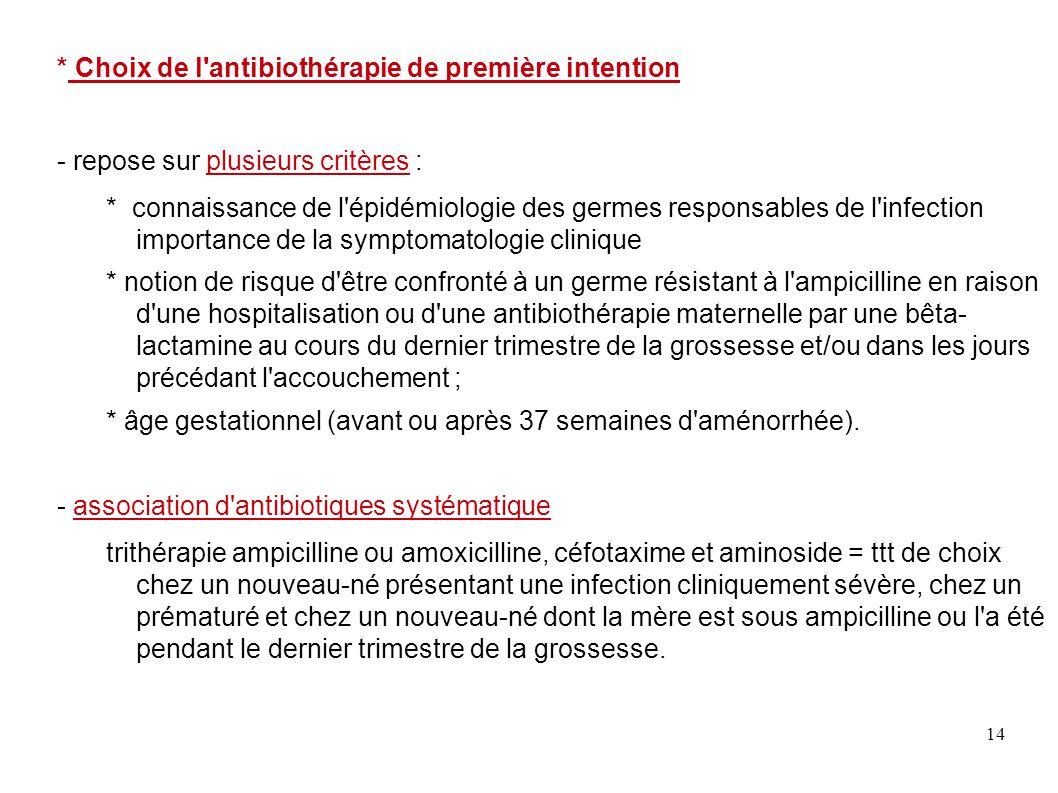 14 * Choix de l'antibiothérapie de première intention - repose sur plusieurs critères : * connaissance de l'épidémiologie des germes responsables de l