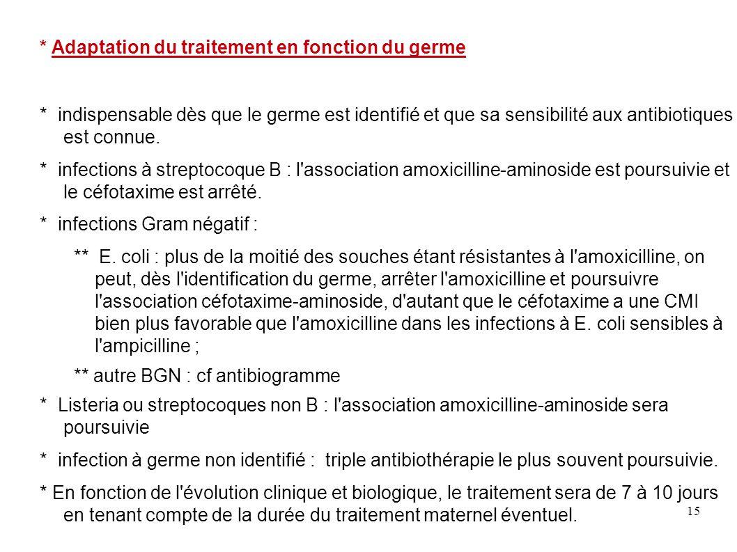 15 * Adaptation du traitement en fonction du germe * indispensable dès que le germe est identifié et que sa sensibilité aux antibiotiques est connue.