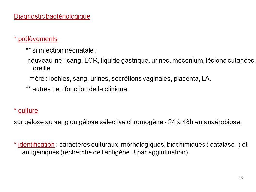 19 Diagnostic bactériologique * prélèvements : ** si infection néonatale : nouveau-né : sang, LCR, liquide gastrique, urines, méconium, lésions cutané