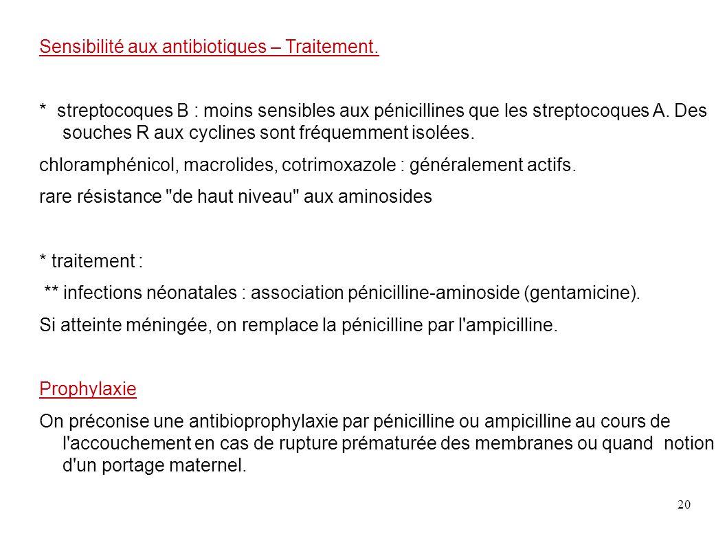 20 Sensibilité aux antibiotiques – Traitement. * streptocoques B : moins sensibles aux pénicillines que les streptocoques A. Des souches R aux cycline
