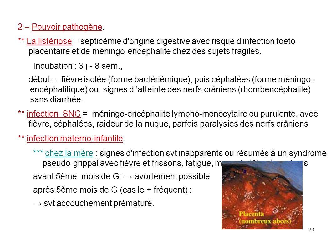 23 2 – Pouvoir pathogène. ** La listériose = septicémie d'origine digestive avec risque d'infection foeto- placentaire et de méningo-encéphalite chez