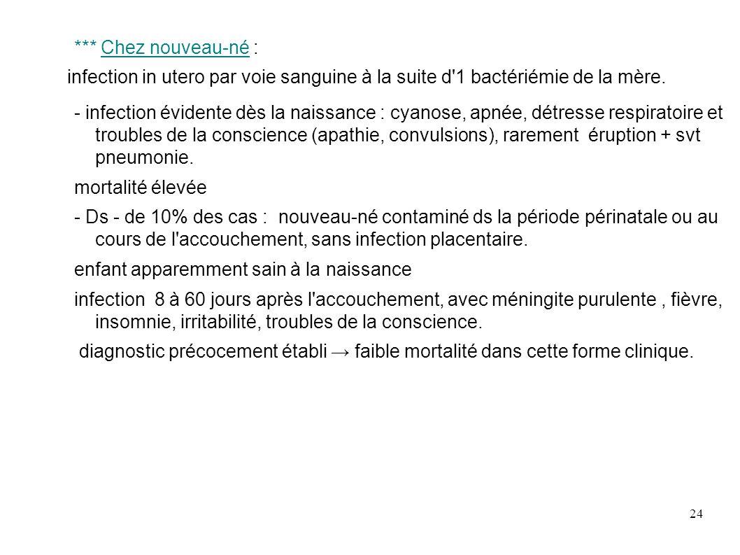 24 *** Chez nouveau-né : infection in utero par voie sanguine à la suite d'1 bactériémie de la mère. - infection évidente dès la naissance : cyanose,