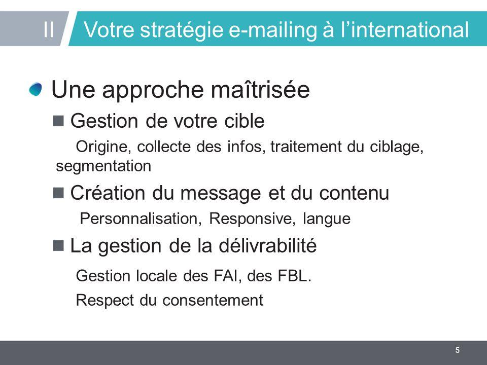 5 Votre stratégie e-mailing à l'international Une approche maîtrisée Gestion de votre cible Origine, collecte des infos, traitement du ciblage, segmentation Création du message et du contenu Personnalisation, Responsive, langue La gestion de la délivrabilité Gestion locale des FAI, des FBL.