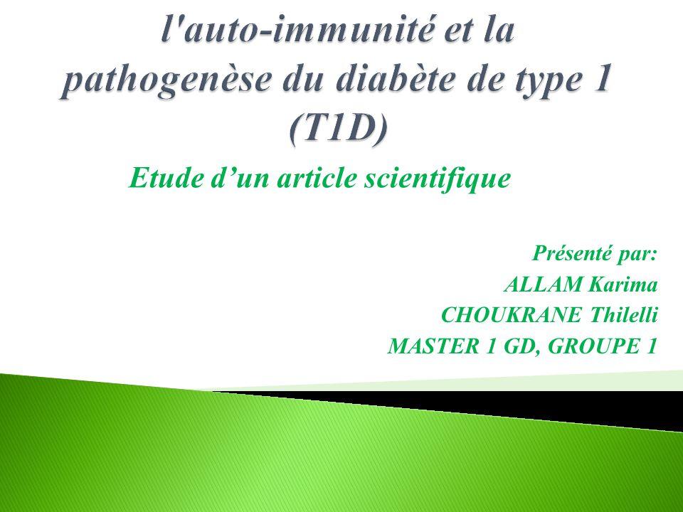 Présenté par: ALLAM Karima CHOUKRANE Thilelli MASTER 1 GD, GROUPE 1 Etude d'un article scientifique