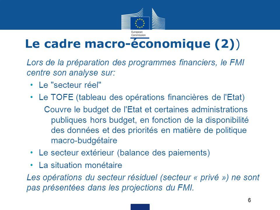 Le cadre macro-économique (2)) Lors de la préparation des programmes financiers, le FMI centre son analyse sur: Le secteur réel Le TOFE (tableau des opérations financières de l Etat) Couvre le budget de l Etat et certaines administrations publiques hors budget, en fonction de la disponibilité des données et des priorités en matière de politique macro-budgétaire Le secteur extérieur (balance des paiements) La situation monétaire Les opérations du secteur résiduel (secteur « privé ») ne sont pas présentées dans les projections du FMI.