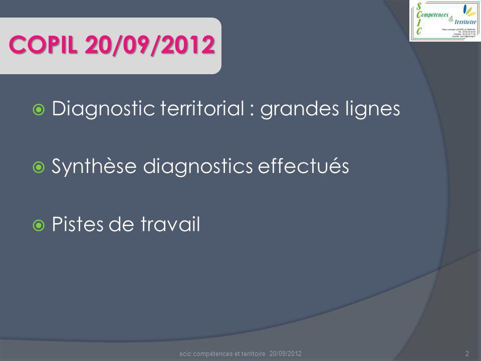 2  Diagnostic territorial : grandes lignes  Synthèse diagnostics effectués  Pistes de travail scic compétences et territoire 20/09/2012 COPIL 20/09