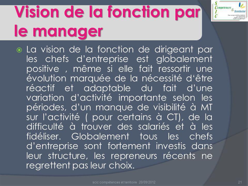 Vision de la fonction par le manager  La vision de la fonction de dirigeant par les chefs d'entreprise est globalement positive, même si elle fait re