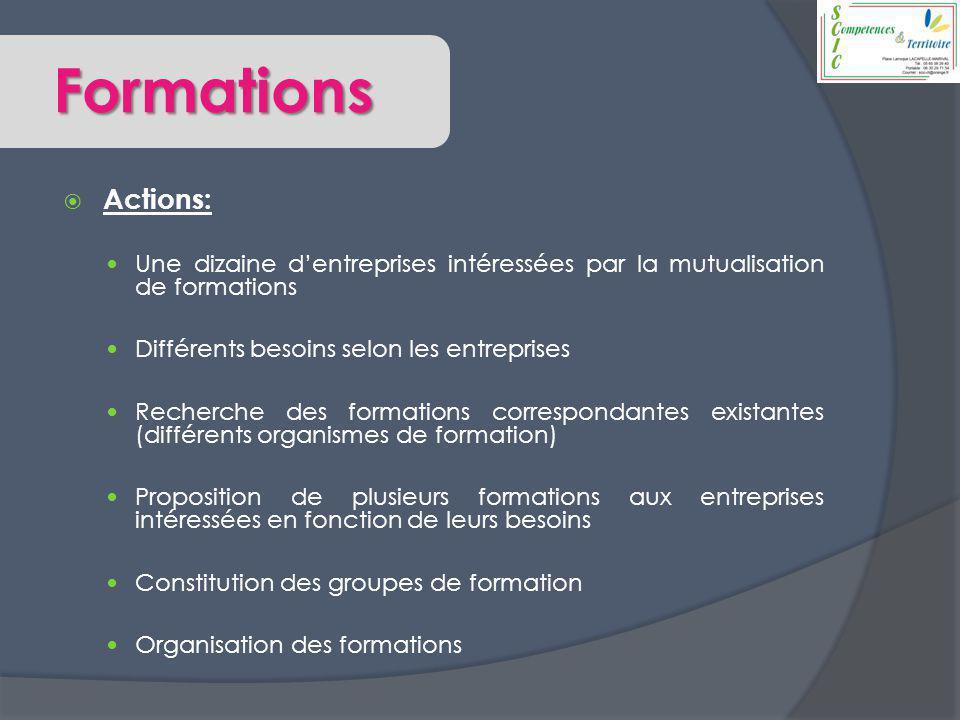 Formations  Actions: Une dizaine d'entreprises intéressées par la mutualisation de formations Différents besoins selon les entreprises Recherche des