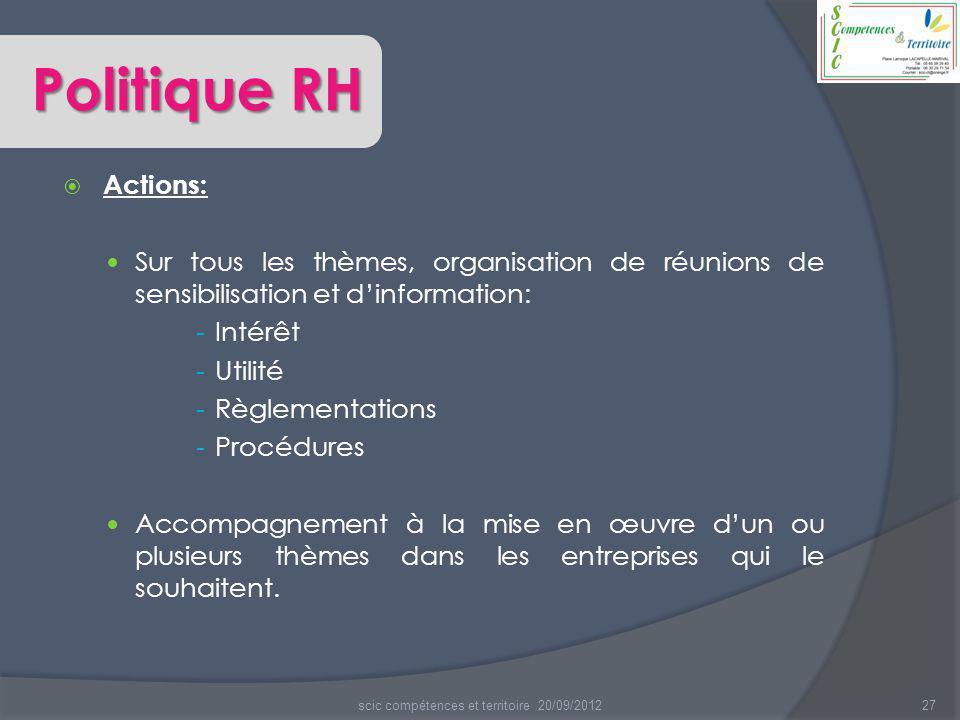  Actions: Sur tous les thèmes, organisation de réunions de sensibilisation et d'information: - Intérêt - Utilité - Règlementations - Procédures Accom