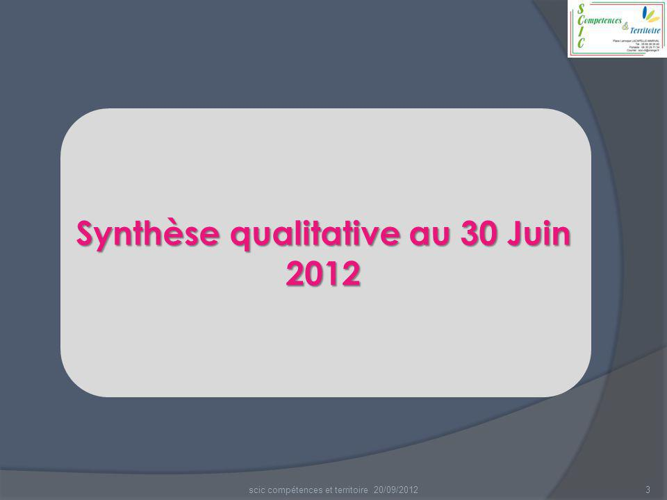 3 Synthèse qualitative au 30 Juin 2012 scic compétences et territoire 20/09/2012