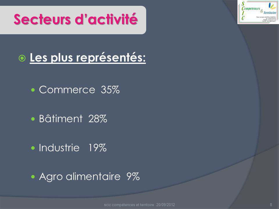  Les plus représentés: Commerce 35% Bâtiment 28% Industrie 19% Agro alimentaire 9% 8scic compétences et territoire 20/09/2012 Secteurs d'activité